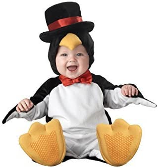 Lil Characters Unisex-Baby Newborn Penguin Costume, Black/White/Yellow, Small by InCharacter