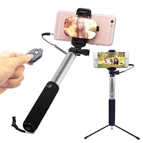 Selfie Stick WISDORIGIN Wire Control Bluetooth Monopod with Big Mirror Tripod Remote Shutter for iPhone X 8 8 Plus 7 Plus, 7, 6s, 6, 6 Plus, Android/Galaxy and All Other Smartphones (Gray)