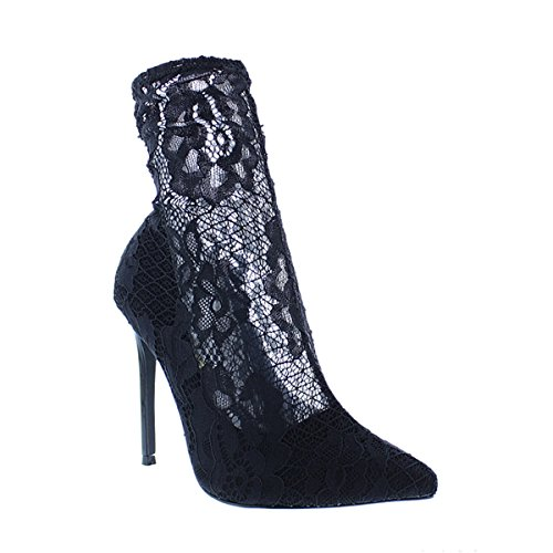 Liliana Women Bootie - Liliana Floral Stretchy Lace Embroider Pointy Toe Fitted Stiletto Booties Giselle93(Black 7.5)