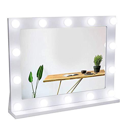 Waneway Espejo Estilo Hollywood para tocador, Espejo de vanidad Grande con Luces, Espejo de Maquillaje Iluminado con 14…