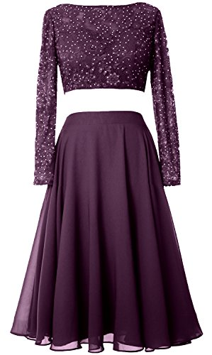 MACloth Elegant 2 Piece Long Sleeve Cocktail Dress Short Lace Prom ...