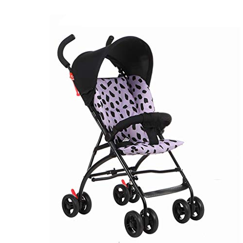 Baby Stroller Ultra-Light Portable can sit in Winter and Summer Dual-use Folding Baby Cotton pad Detachable Shock Absorber (Color : Purple)