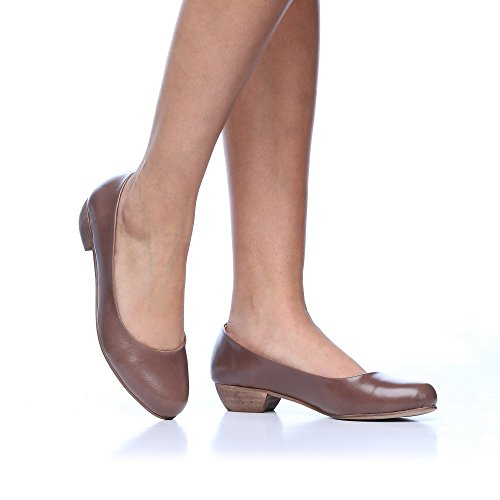 Calfskin Pumps - B-Unique Low Chunky Heel Pumps for Women Leather Round Toe Women's Pump Shoes Mary Jane Low Stacked Heel