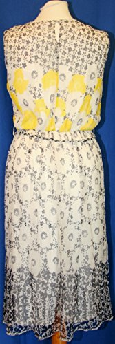 Derhy Aeroport Jaune Printed Dress Robe sans manches en mousseline de soie Taille M 110 Rrp £