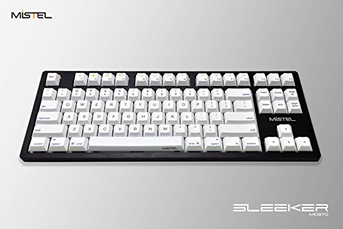 Mistel Sleeker MD870 Mechanical Keyboard with Chrerry MX Brown Switch and Black Full CNC Aluminum Case for Mac and Windows (Tenkeyless, Single White LED Backlit, PBT Dye-Sub Keycap, ANSI/US Layout)]()