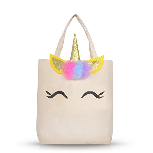 Unicorn Canvas Tote Bag with Horn for Beach, Travel, School, Unicorn Gift for Girls Kids Students Unicorn Party Favor Bags