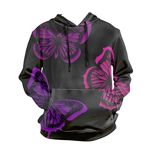 Asolliy Pink Butterflies Long Sleeve Hooded Sweatshirt Hoodie Tracksuit Coat Casual Sportswear for Men