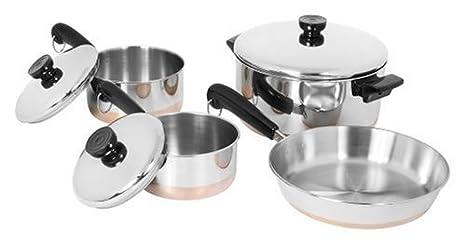 Revere 1042262 Bottom Copper Clad 7 piezas Juego de utensilios: Amazon.es: Hogar