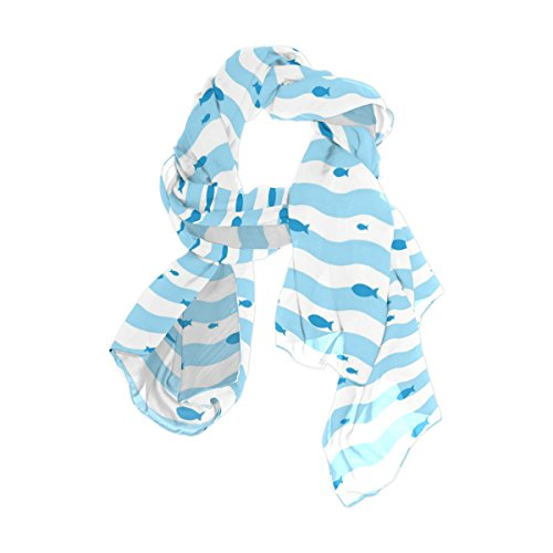 U LIFE Blue Fish Sea Ocean Moire Stripe Silk Scarf Scarves for Women