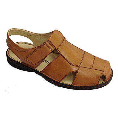 30´s Made par à en In bout Fermé Spain Velcro brun fermeture sandales zrqxfz4
