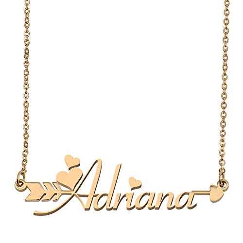 Aoloshow Customized Custom Name Necklace Personalized - Custom Adriana Initial Name Arrow Horizontal Monogrammed Necklace Gift for Womens ()