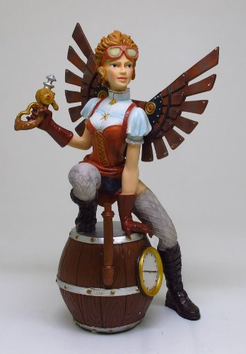 8.75 Inch Steampunk Lady Fairy Sitting on Barrels Statue