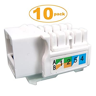 Generic 10-pack Cat6 RJ45 Keystone Jack Punch-Down Stand in White Ethernet Module Network Coupler