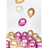 Pink Gold Metallic Chrome Balloons Party Decorations 12 Inch 30 Pcs for Birthday Wedding Bachelorette Baby Shower