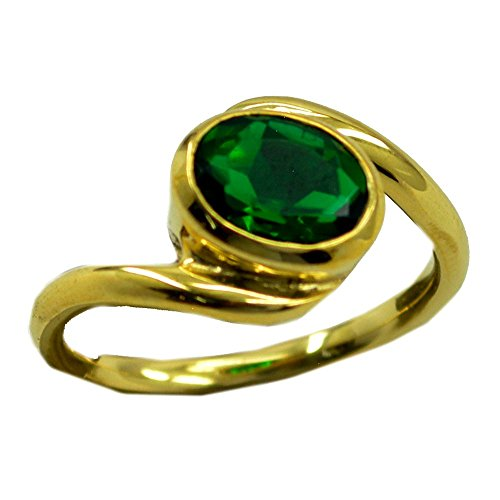 (Jewelryonclick Oval Shape Indian Emerald CZ Gold Plated Promise Rings Bezel Style Size)