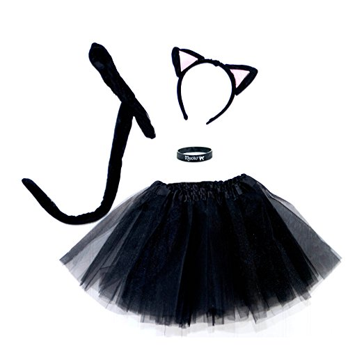 [Spooky Black Kitty Cat Complete Costume Set] (Cat Ears And Tail Set)