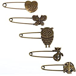 KLOUD City® 5 Pcs Bronze Vintage Hijab Pins /Brooch Pins/Safety Pins