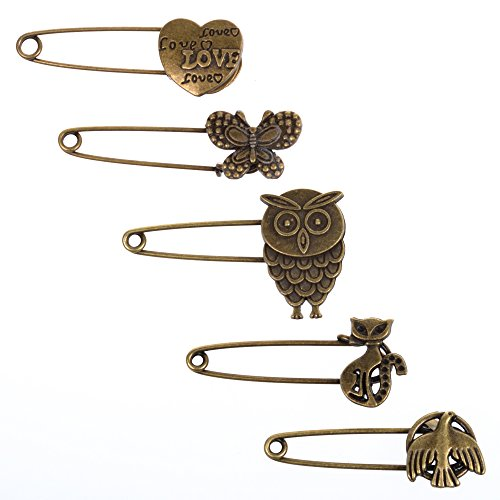 KLOUD City® 5 Pcs Bronze Vintage Hijab Pins /Brooch Pins/Safety Pins