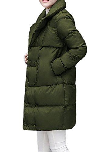 Las lanas flojas elegante abrigo abrigos de las mujeres con bolsillos Armygreen