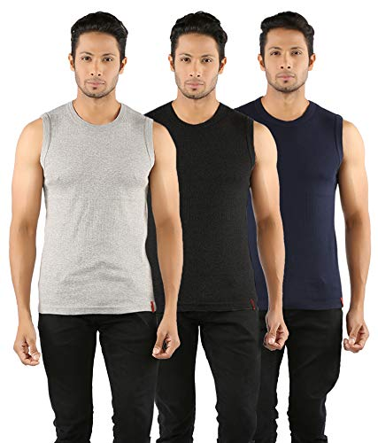 77212ae8d1b24 SOLO Men s Round Neck Stretchable Short Crew Undershirt Cotton Sleeveless  Tee Vest (Grey
