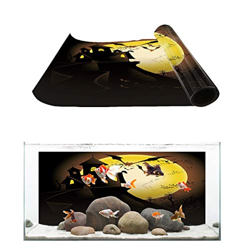Fantasy Star Aquarium Background Halloween Castle Bat with Moon Fish Tank Wallpaper Easy to Apply and Remove PVC Sticker Pictures Poster Background Decoration 20.4