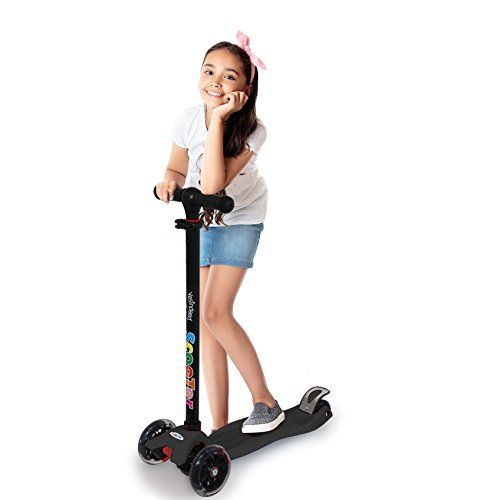 3 Wheel Kick Scooter. For Kids 2-12 Years, Premium Aluminum, Adjustable Height, PU Wheel with LED Rear Lights. 4 Years Warranty.Available in 5 colors