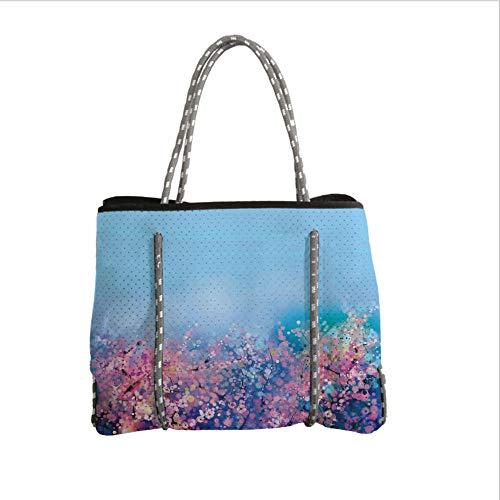 Neoprene Multipurpose Beach Bag Tote Bags,Watercolor Flower Home Decor,Retro Cherry Blossom Petal Perennial Herb Botanic Habitat Print,Pink Blue,Women Casual Handbag Tote Bags