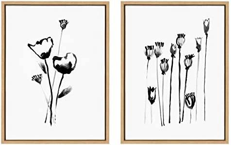 Kate and Laurel Sylvie Wildflowers and Seed Pods Framed Canvas Wall Art