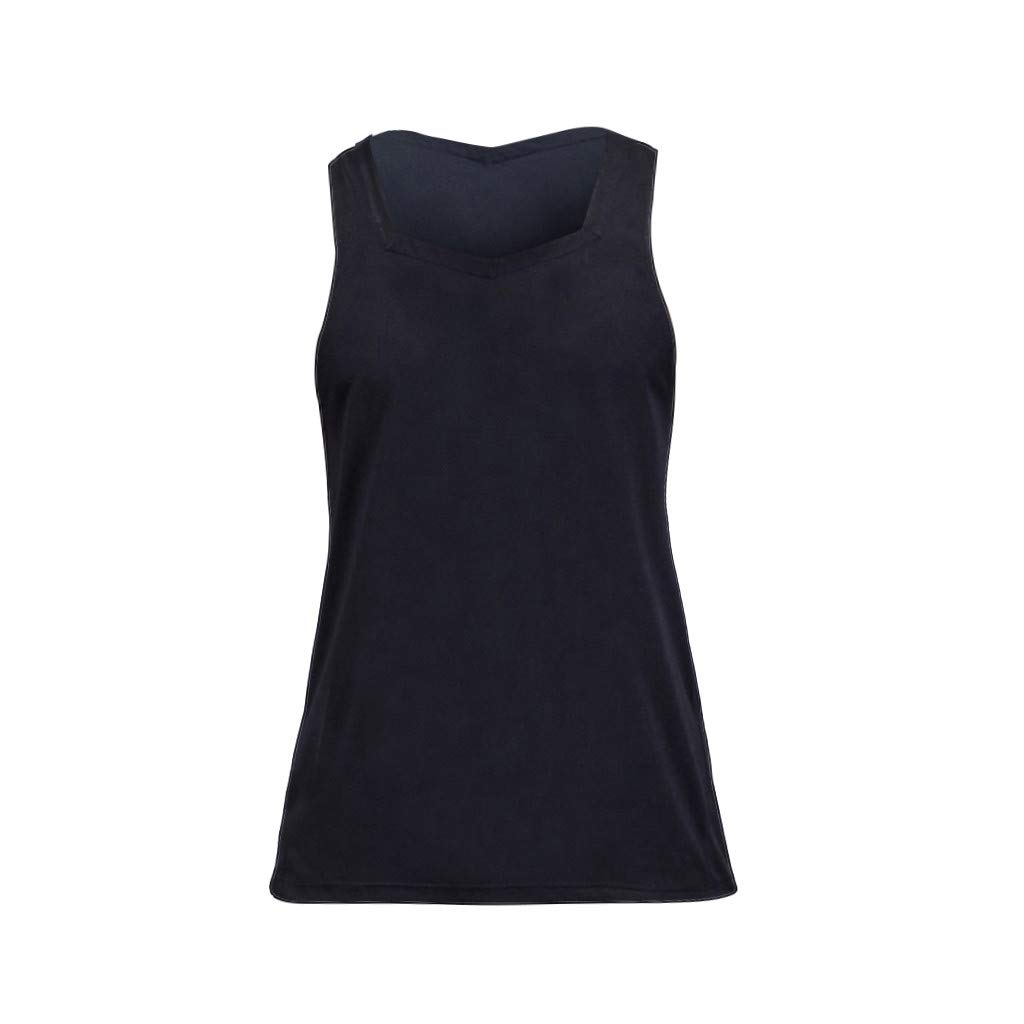 Men Tank Tops Workout Summer Casual Fashion Fitness Pure Color Breathable Sports Vest Top Blouse by Dainzuy Black by Dainzuy Men Tops (Image #4)
