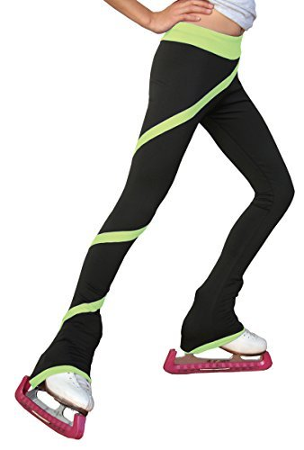 ChloeNoel P06 - Spiral Figure Skating Pants Light Green Child Extra Small