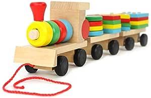 مكعبات صغيرة وخشبية على شكل قطر وثلاث عربات مع اشكال هندسية، العاب تعليم الاطفال