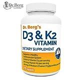 Dr. Berg's Vitamin D3 & K2 Supplement with Purified Bile Salts -Vitamin D3 & K2 Support Healthy Bones and a Healthy Heart - 10,000 IU of Vitamin D3 & 100 mcg of Vitamin K2 MK-7