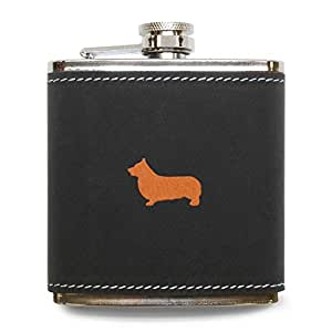 MODERN GOODS SHOP Pembroke Welsh Corgi Flask - Stainless Steel Body With Grey Leather Cover - 6 Oz Leather Hip Flask - Made In USA
