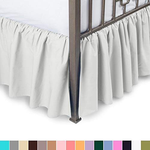 Fabricalicious Linen Ruffled Bed Skirt with Split Corners - Olympic Queen, Bone, 21 Inch Drop Bedskirt (Available in and 16 Colors)