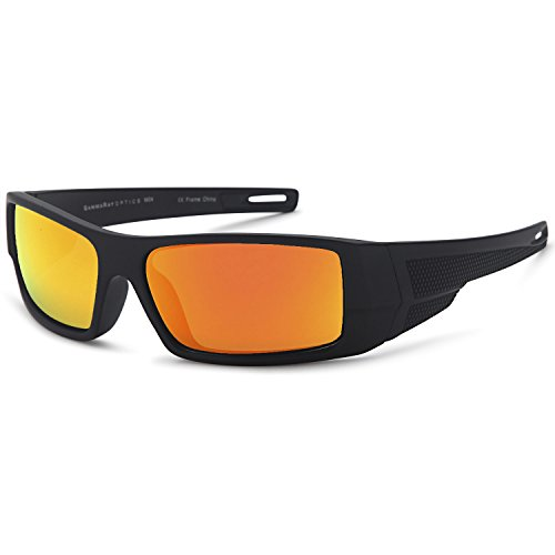 GAMMA RAY Polarized Wrap Around Sports Sunglasses with Shatterproof Nylon Frame - Black Frame Orange Mirror Lens