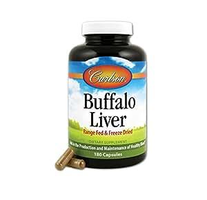 Carlson Labs Buffalo Liver, Range Fed and Freeze Dried 500mg, 180 Capsules