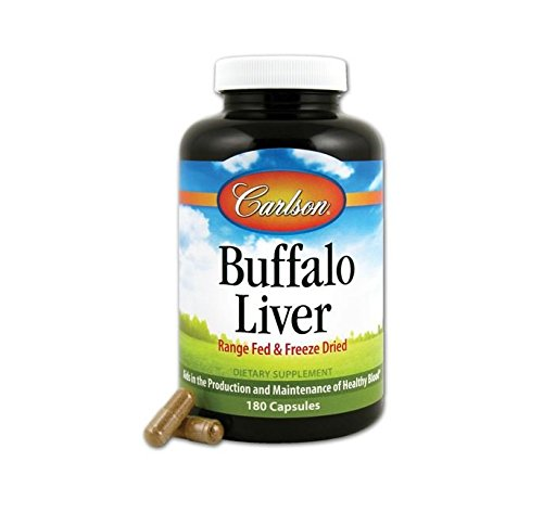 Carlson Labs Buffalo Liver, Range Fed and Freeze Dried 500mg, 180 Capsules
