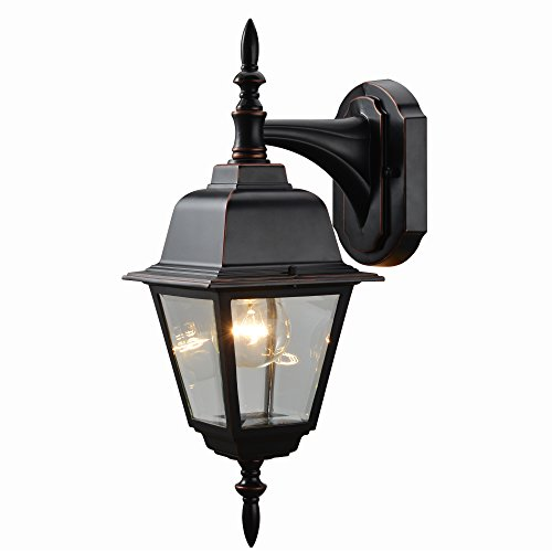 Hardware House 19-1890 Oil Rubbed Bronze Outdoor Patio / Porch Wall Mount Exterior Lighting Lantern Fixture with Clear Beveled Glass