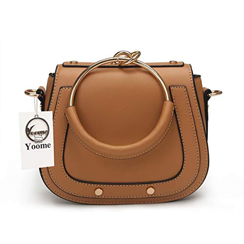 Yoome Women Punk Circular Ring Handle Handbags Small Round Purse Crossbody Bags For Girls (Brown.leather Handle)