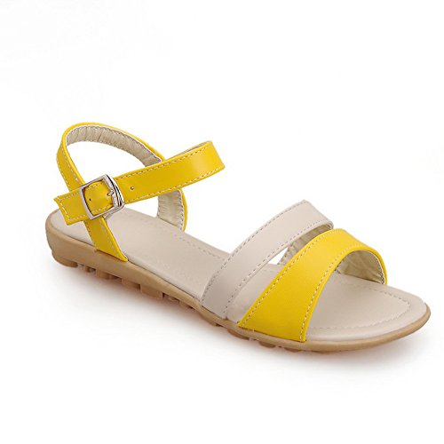 VogueZone009 Womens Open Toe Soft Material PU Sandals with Assorted Colors Yellow tzRTo