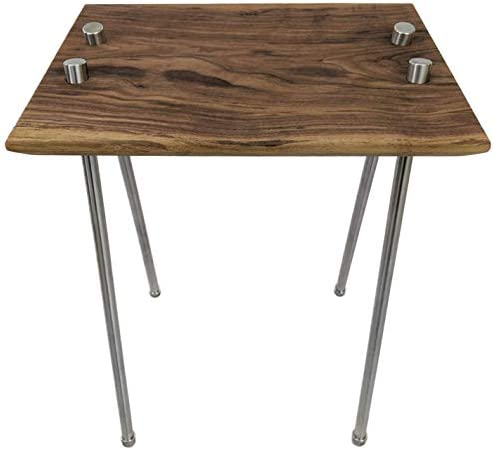KESTREL MODERN Solid Wood and Metal Walnut Stainless Steel Mid Century Industrial Side Table Night Stand End Table