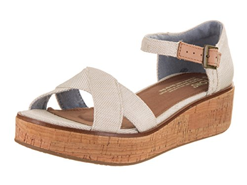 TOMS Women's Harper Wedge Natural Yarn-Dye 8 B US (8 Size Shoes Womens Wedges Toms)