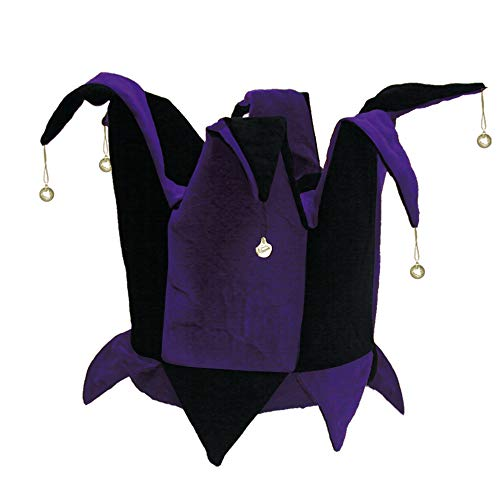 Velvet Jester Hat Royal Purple & Black for Mardi Gras, Halloween Costume (Mardi Jester Gras Hats Costume)