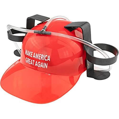 Fairly Odd Novelties Beer Soda Guzzler Helmet Make America Great Again - Donald Trump, Red