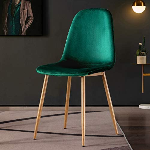 Mejor Upholstered Short-napped Vintage Velvet Dining Chairs Set of 4 Green