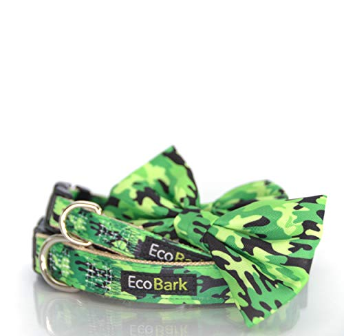 EcoBark Cute Buckle Dog Collar, Eco Friendly, Ultra Soft, Durable, Hypo-Allergenic, Adjustable Dog Collar. Softer Than Nylon Collars but Just as Strong! (Small 10 to 16 Inches, Camo)