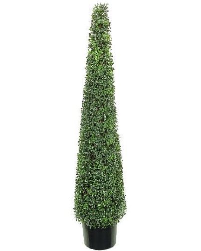 One 5 Foot Artificial Boxwood Tower Topiary Tree Plant Decor Potted by Silk Tree Warehouse