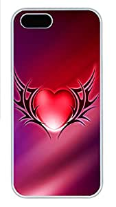 iPhone 5s Cases & Covers - Red Crystal Heart Shaped Custom PC Soft Case Cover Protector for iPhone 5s - White