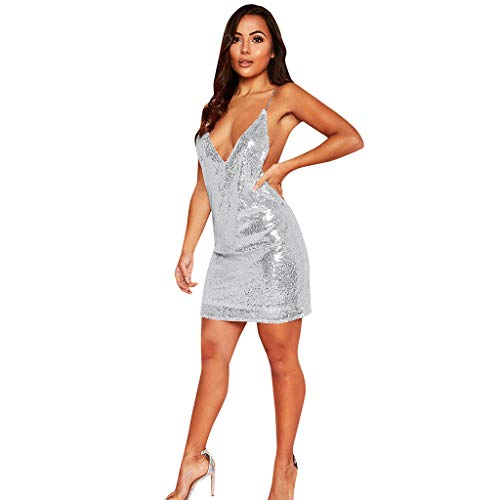 Women's Sexy Deep V Sequins Dress Ladies Sparkle Sleeveless Sling Party Nightclub Mini Dresses ()