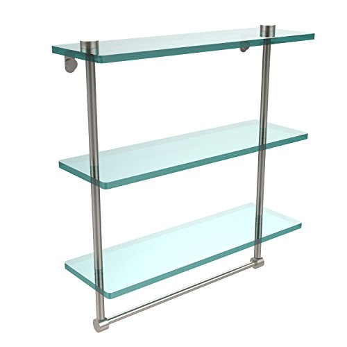 Allied Brass NS-5/16TB-SN 16 Inch Triple Tiered Glass Shelf with Integrated Towel Bar, Satin Nickel ()